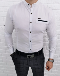 Biala meska koszula ze stojka 0338/1