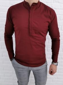 Bordowa koszula ze stojka zakryte guziki 0105/56