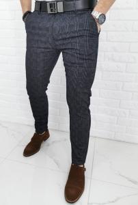 Ciemnogranatowe spodnie eleganckie w szarą krate 1311