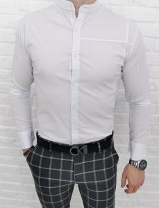 Biala koszula ze stojka z przeszyciem 0323/1