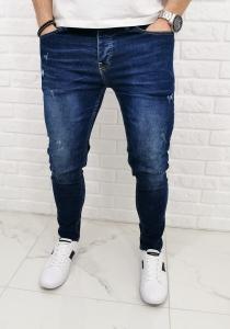 Granatowe jeansy z lekkimi przetarciami 531