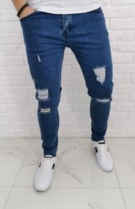 Niebieskie jeansy Denim Pasaport z dziurami 541