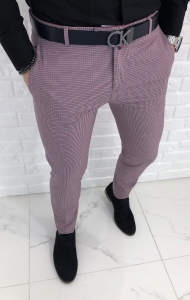 Jasne eleganckie spodnie w czerwono granatowa krate 1326