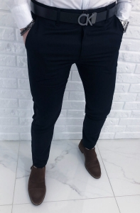 Granatowe eleganckie spodnie z ozdobnym splotem 1328