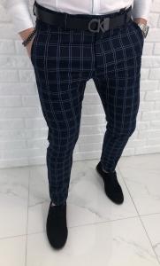 Granatowe eleganckie spodnie w stylowa krate 1330
