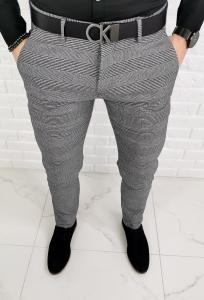 Szare eleganckie spodnie w stylowa krate 1190