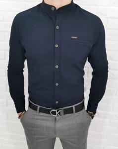 Granatowa meska koszula ze stojka 0338/3