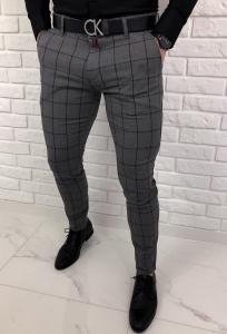 Szare eleganckie spodnie slim fit w czarna krate 64G