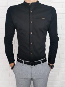 Czarna koszula Stylovy slim fit ze stojka z ozdobnym przeszyciem 1003