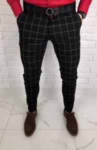 Czarne eleganckie spodnie slim fit w szara krate Renato 64s