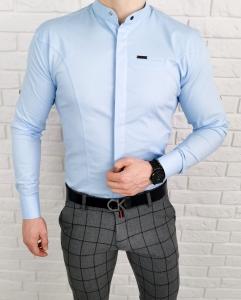 Niebieska koszula ze stojka zakryte guziki Stylovy 1001