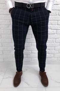 Eleganckie granatowe spodnie w szara krate Renato 64l