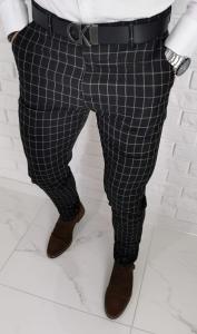 Czarne eleganckie spodnie slim fit w krate DJ1368