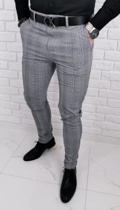 Szare eleganckie spodnie meskie slim fit w krate DJ1369