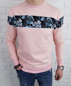 Pudrowa bluza meska bez kaptura