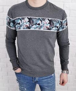 Szara bluza meska bez kaptura w kwiaty
