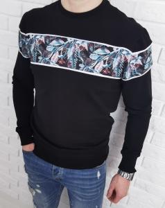 Czarna bluza meska bez kaptura kwiaty