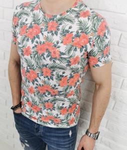 Biala meska koszulka w kolorowe kwiaty LNS