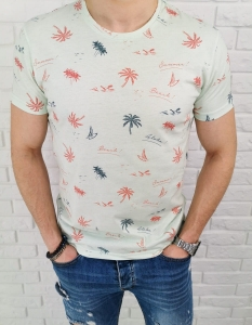 Mietowa koszulka meska holiday palmy LNS