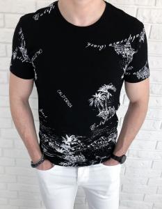 Czarna meska koszulka Tommy Life California palmy