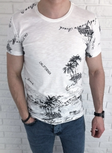Biala meska koszulka Tommy life california palmy