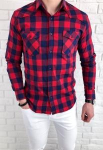 Czerwona taliowana meska koszula w niebieska krate IMG