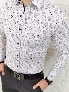 Biala meska koszula w bordowe kwiaty IMG