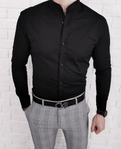 Czarna meska koszula ze stojka Imaginazzi