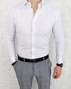 Biala elegancka koszula meska imaginazzi z kolnierzem