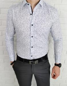 Biala koszula meska w czarno niebieskie liscie IMG