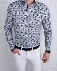 Biala koszula meska w niebieskie kwiaty IMG