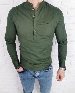 Koszula khaki meska ze stojka zapinana do polowy 0015/36