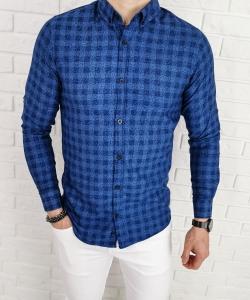Niebieska koszula Tommy Life krata liscie