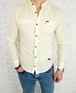 Bawelniana koszula w pastelowym zoltym kolorze 0282/168