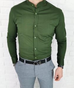 Koszula khaki ze stojka przeszycia imaginazzi 1424