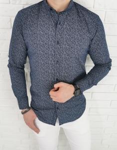 Ciemnogranatowa koszula ze stojka imaginazzi szary wzor 1425
