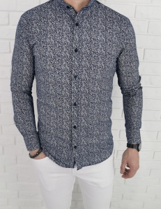Bialo granatowa koszula imaginazzi ze stojka we wzory 1426