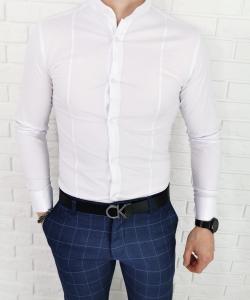 Biala koszula ze stojka super slim 1428