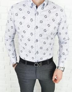 Biala koszula ego man granatowy kwiatowy wzór 1429