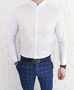 Biala taliowana koszula meska ze stojka Imaginazzi