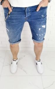 Spodenki jeansowe meskie z dziurami lancuszkiem 7204 premium