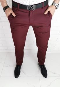 Bordowe eleganckie meskie spodnie imaginazzi 8101