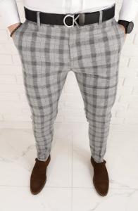 Szare materialowe lekkie spodnie w czarna krate 1466