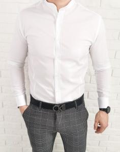 Biala taliowana koszula ze stojka przeszycia imaginazzi 1468