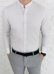Biała elastyczna taliowana koszula imaginazzi w szaro czarne listki 1508