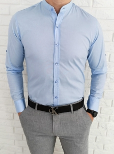 Jasnoniebieska taliowana koszula ze stojka imaginazzi 1506