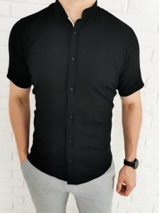 Czarna lekka bawelniana koszula krotki rekaw 1505