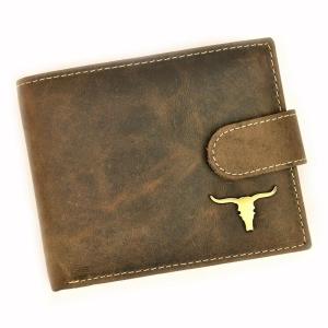 Ciemnobrazowy skorzany portfel meski zapinany Wild RM-BO5L-BAW