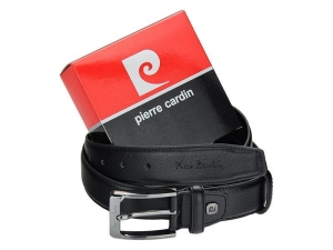 Czarny skorzany elegancki pasek Pierre Cardin 5011 ROB01