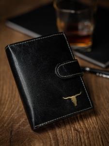 Czarny skorzany pionowy portfel Buffalo RM-03L-BAW